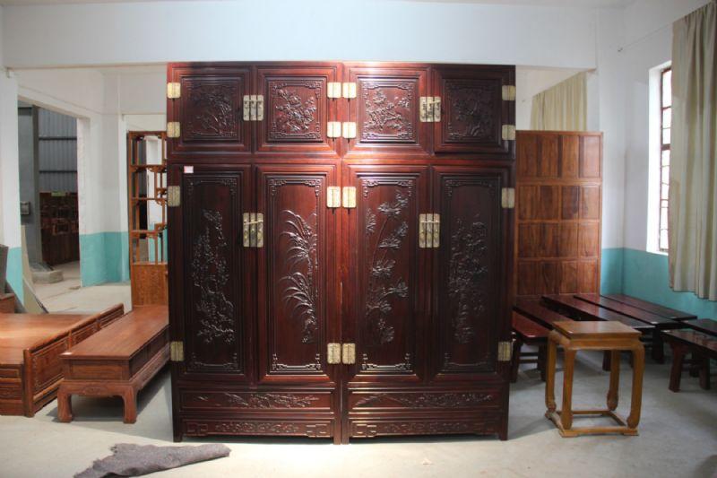 红木手工雕刻家具紫檀顶箱柜高档实木卧室衣柜大信杉